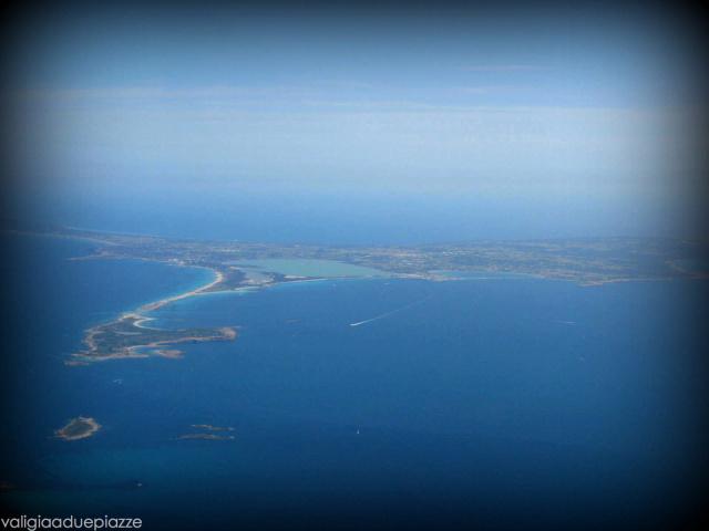 Formentera dall'aereo che sta per scendere su Ibiza