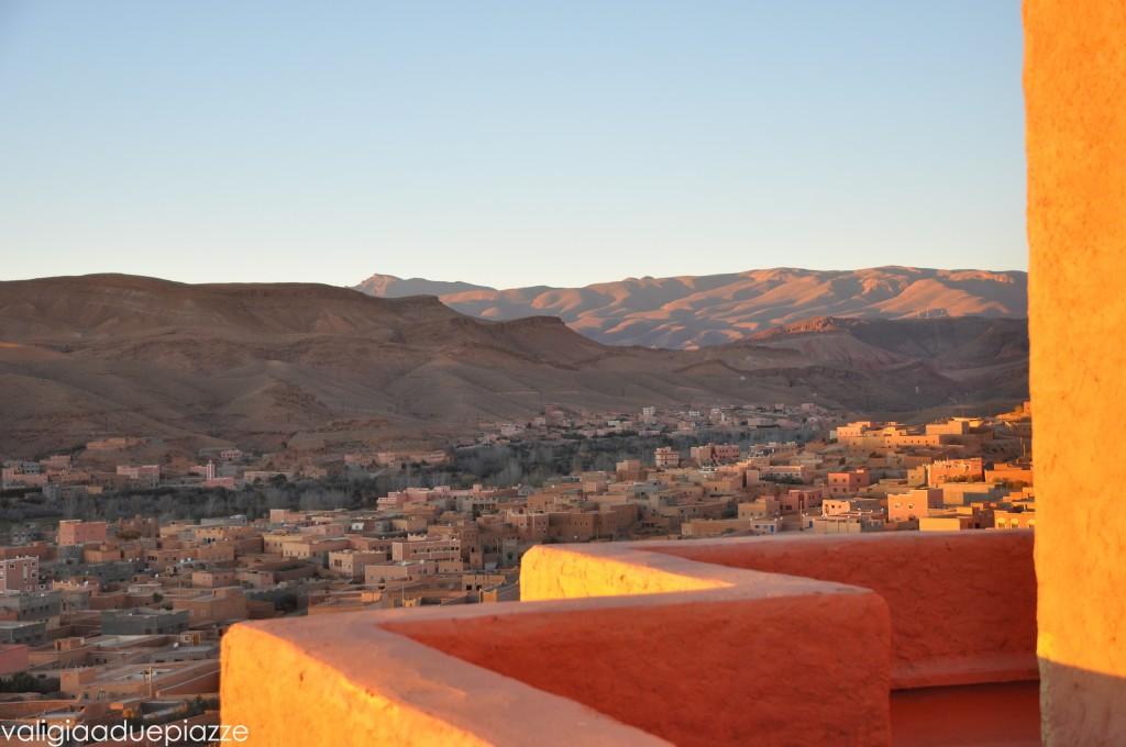 Il tramonto su Boumalne Dades dalla suite dell'Hotel Xaluca Dades