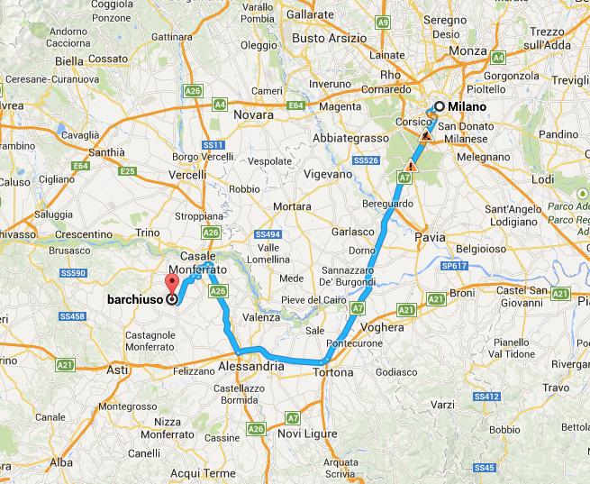 Da Milano a Moleto Bar Chiuso come arrivare