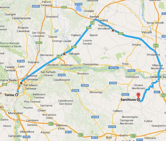 Da Torino a Moleto Bar Chiuso come arrivare