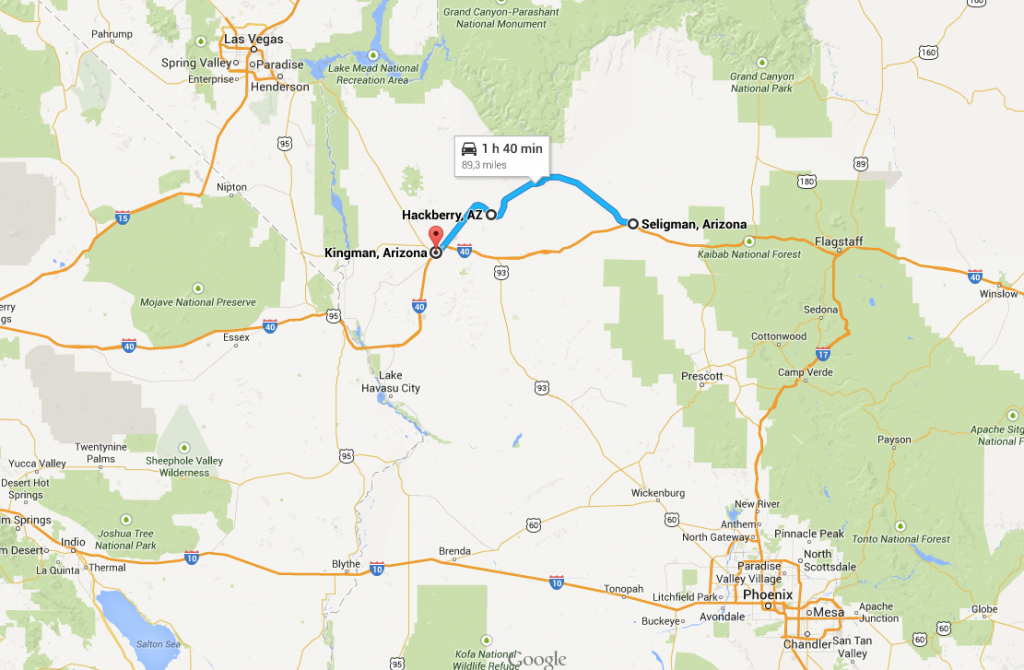 route 66 mappa arizona