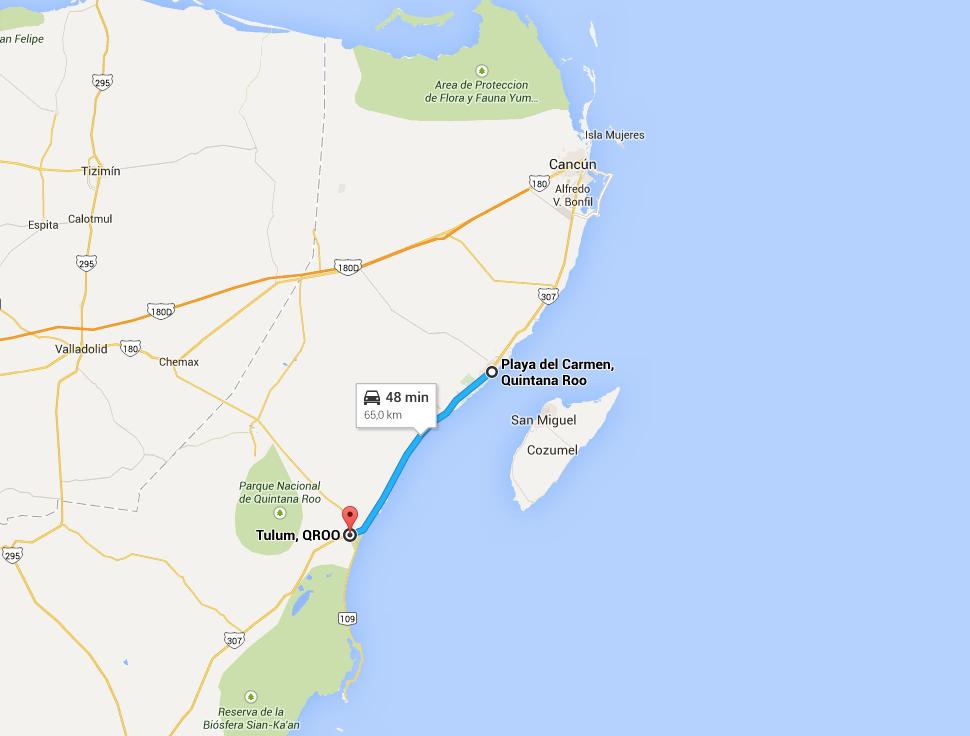 distanza playa del carmen tulum