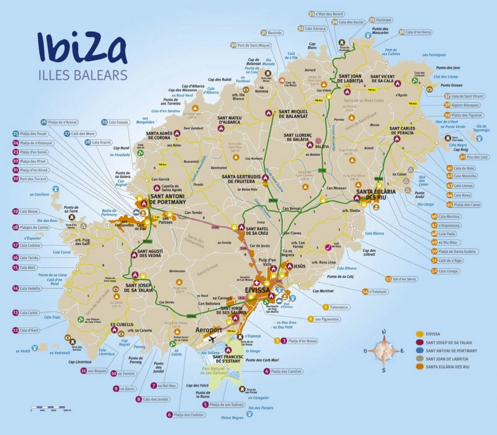 mappa spiagge ibiza