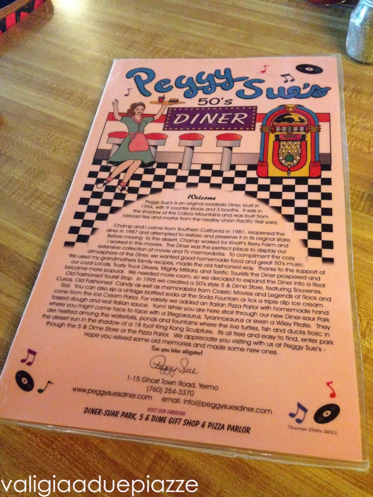 menù peggy sue's diner