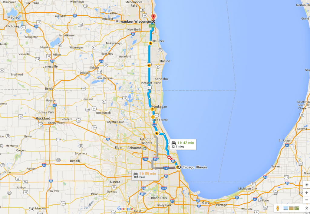 distanza Chicago Milwaukee